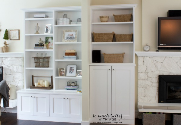 Built-in shelves / Adding color to the family room via somuchbetterwithage.com