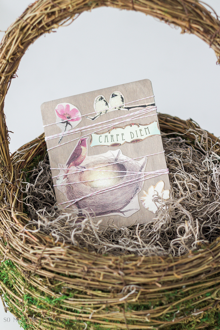 Easy Spring Craft/bird and flower craft in mossy basket - So Much Better With Age