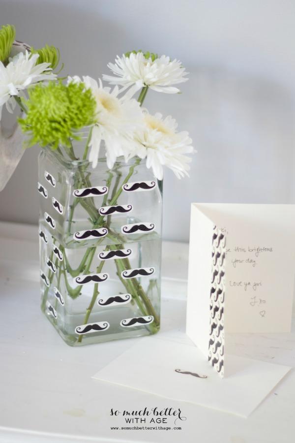 Mustache flower vase