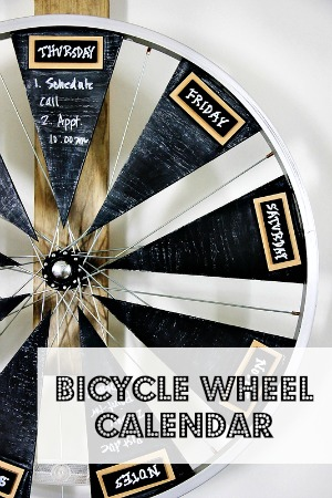 Bicycle wheel calendar poster.