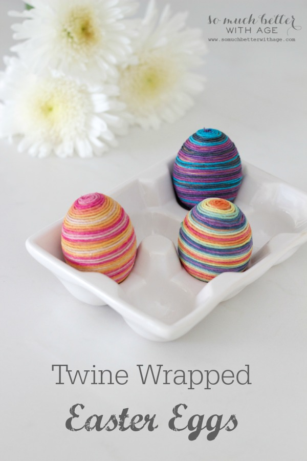 Twine wrapped Easter eggs with hemp twine