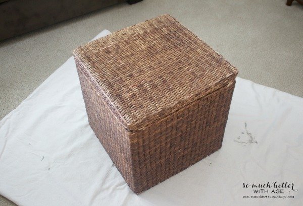 A wicker basket before being painted in its natural state.
