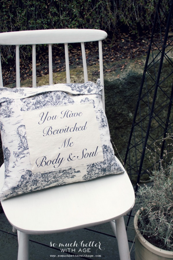 You have bewitched me body and soul pillow via somuchbetterwithage.com