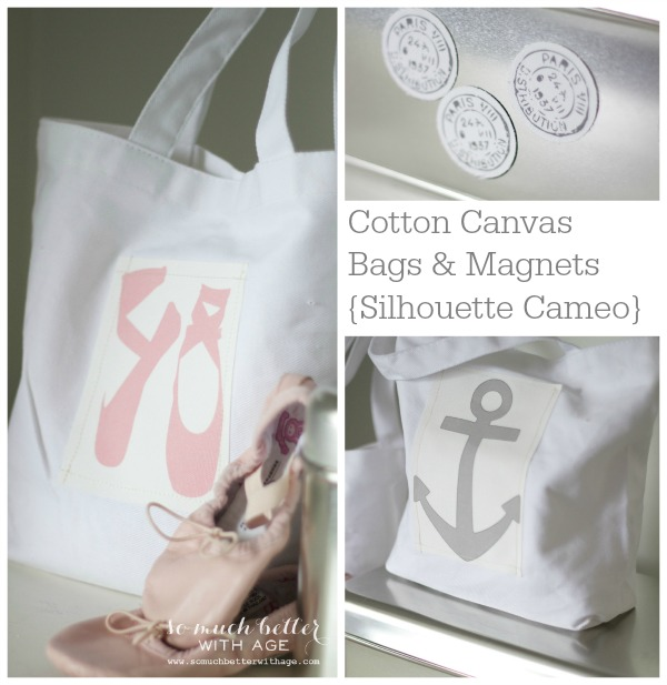 Cotton canvas bags and magnets using Silhouette Cameo machine