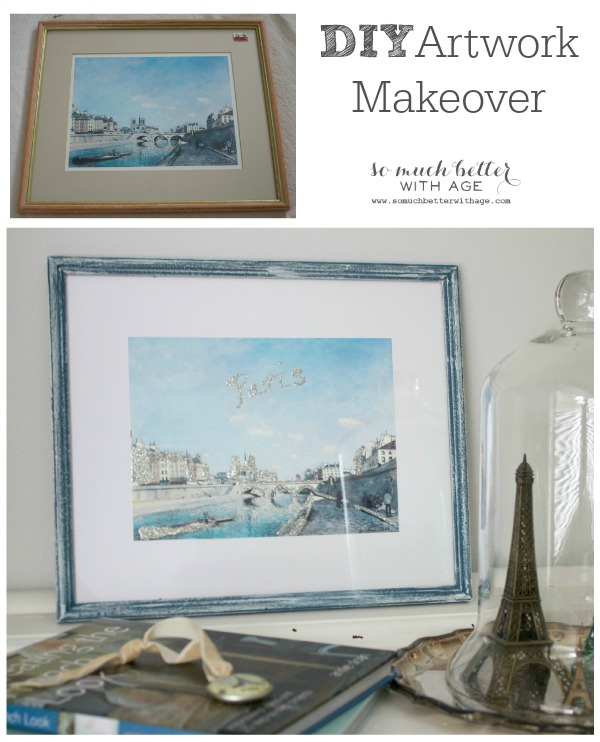 DIY artwork makeover trash to treasure / reworked picture in frame - So Much Better With Age