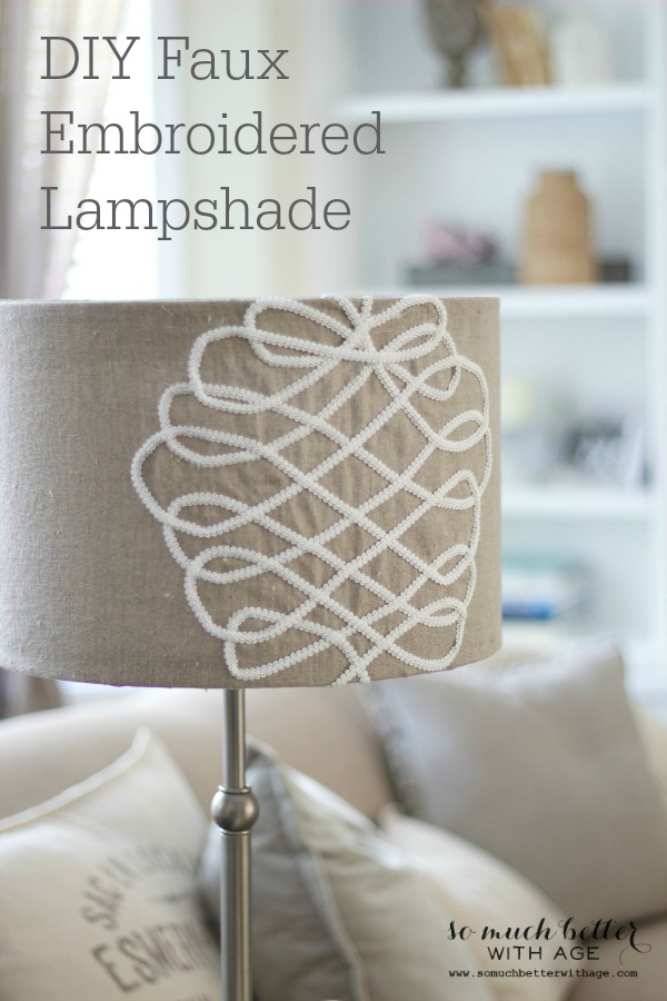 DIY faux embroidered lampshade / up close picture of lampshade - So Much Better With Age