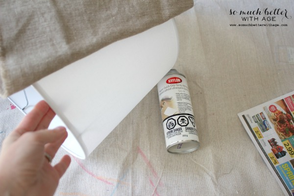Adhesive spray / DIY faux embroidered lampshade via somuchbetterwithage.com
