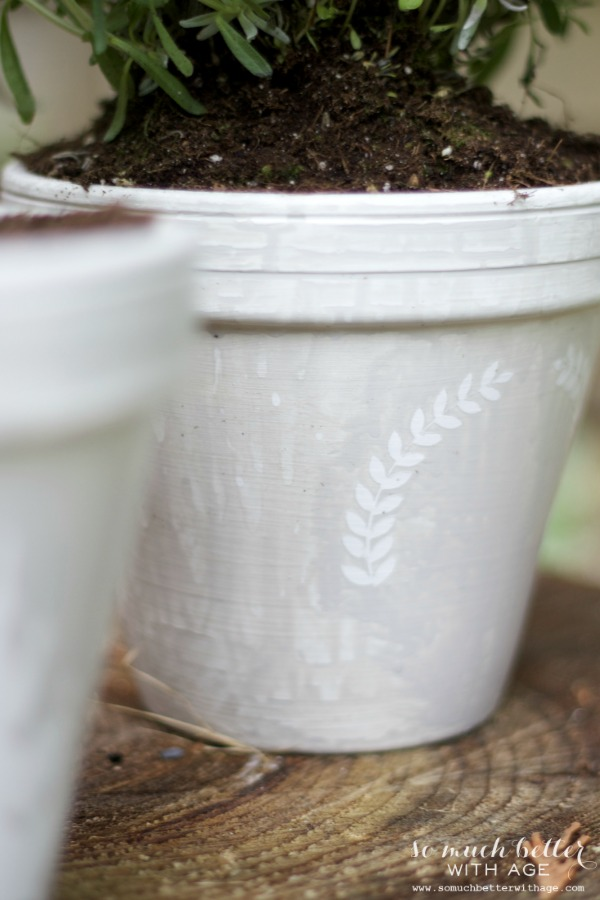 French glazed plant pots / close up of stencilled pot - So Much Better With Age