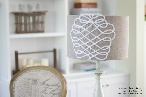DIY faux embroidered lampshade - So Much Better With Age