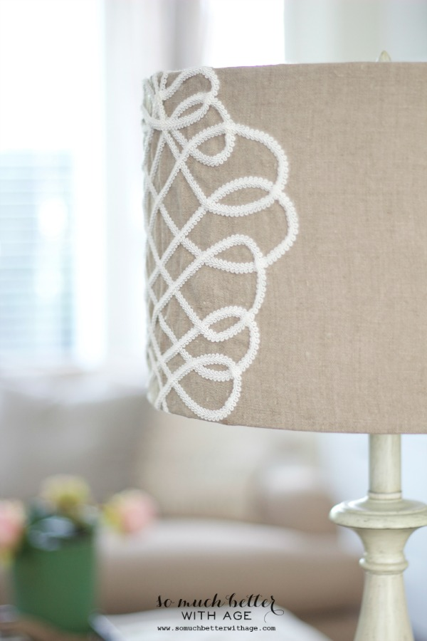 DIY faux embroidery lampshade / close up picture of intricate lampshade - So Much Better With Age