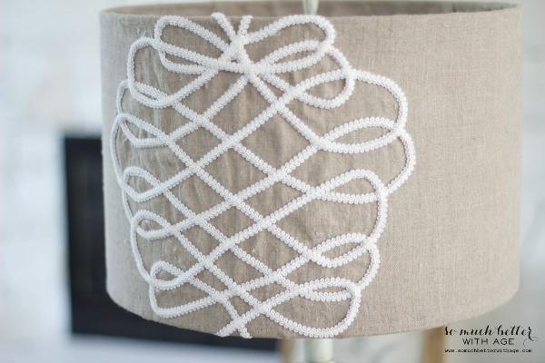 DIY faux embroidery lampshade / almost finished lampshade - So Much Better With Age