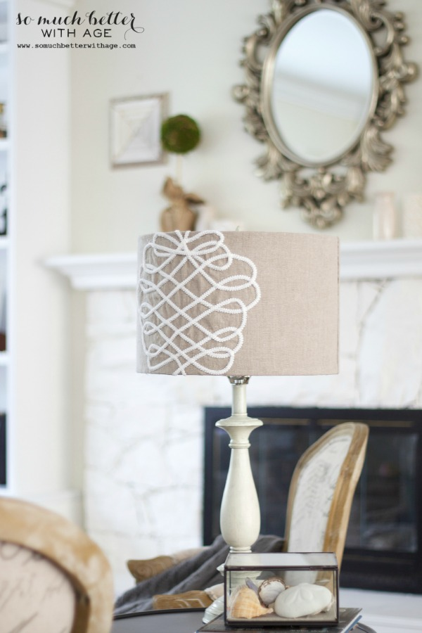 French living room / DIY faux embroidered lampshade via somuchbetterwithage.com