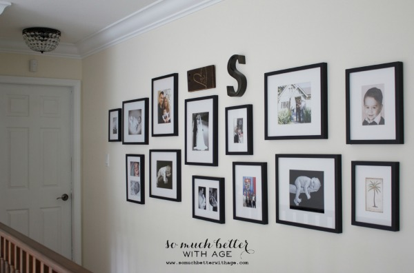 New Pottery Barn light fixture / my gallery wall via somuchbetterwithage.com