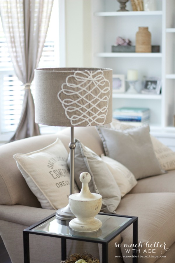 DIY faux embroidered lampshade via somuchbetterwithage.com
