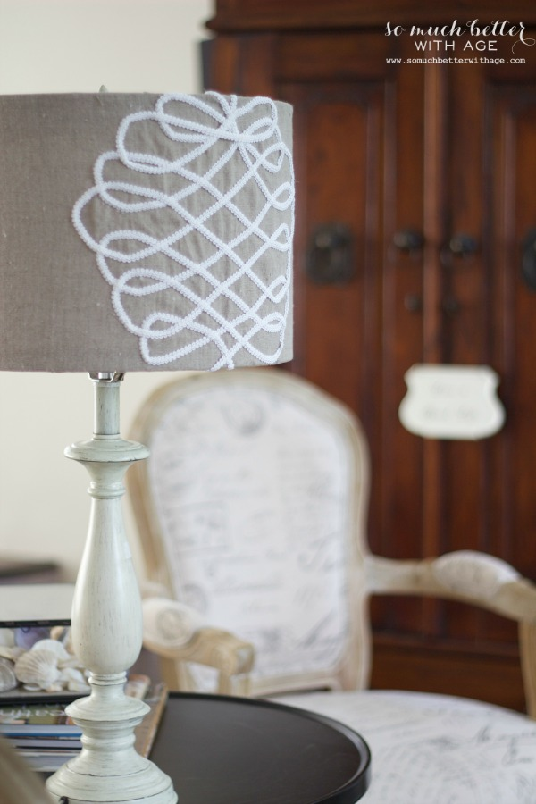 DIY faux embroidery lampshade / lampshade picture with chair in background - So Much Better With Age