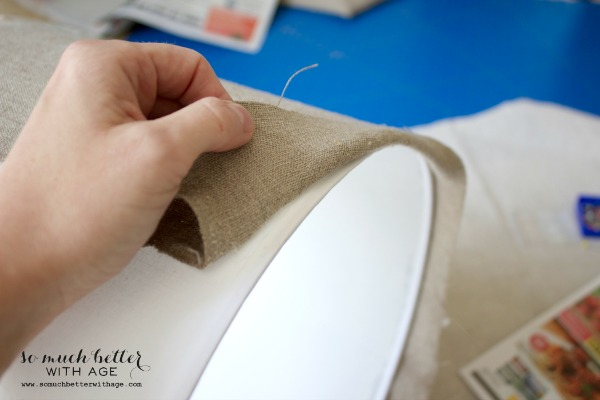 Linen fabric / DIY faux embroidered lampshade via somuchbetterwithage.com
