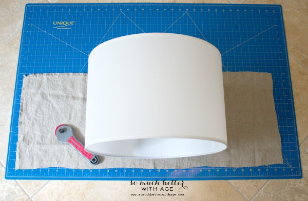DIY faux embroiderey lampshade / linen fabric - So Much Better With Age