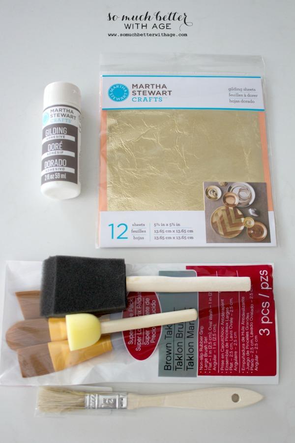 Martha Stewart craft supplies / Gold leaf painted mirror via somuchbetterwithage.com