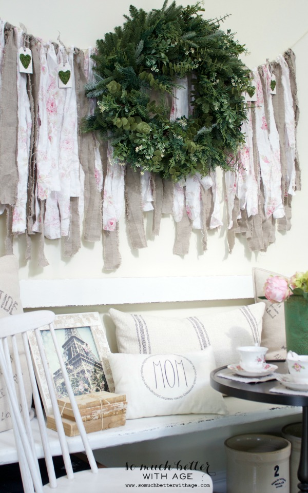 Mother's day french tea party / green wreath on wall - So Much Better With Age