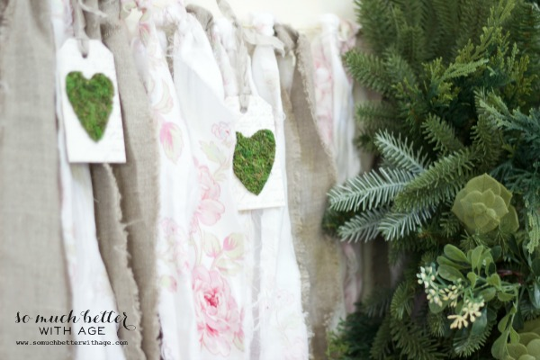 Moss hearts / Mother's day tea party via somuchbetterwithage.com