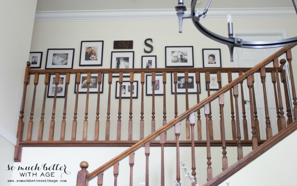 Neutral foyer before and after / dark staircase and gallery wall - So Much Better With Age