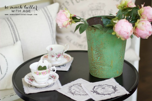 Mother's day tea party / faux pink peonies in green bucket - So Much Better With Age