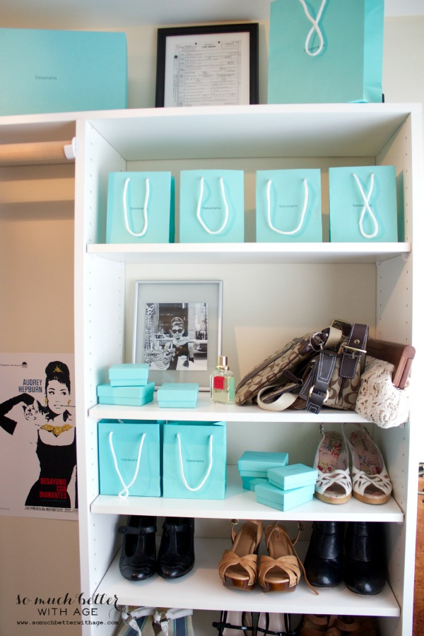 Audrey Hepburn Inspired Closet / Tiffany blue bags - So Much Better With Age