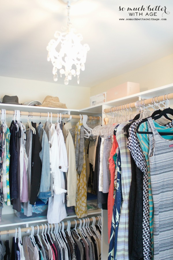 Audrey Hepburn Inspired Closet / chandelier in closet - So Much Better With Age
