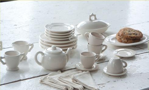 Child's all white tea set.