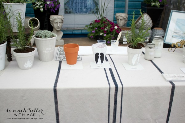 Pots on top of table for demonstration.