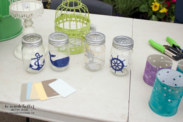 Nautical mason jars on table.