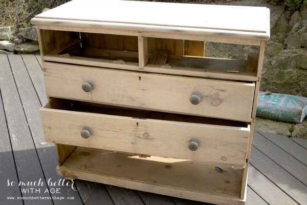 Dresser makeover with chalk paint / broken dresser - So Much Better With Age