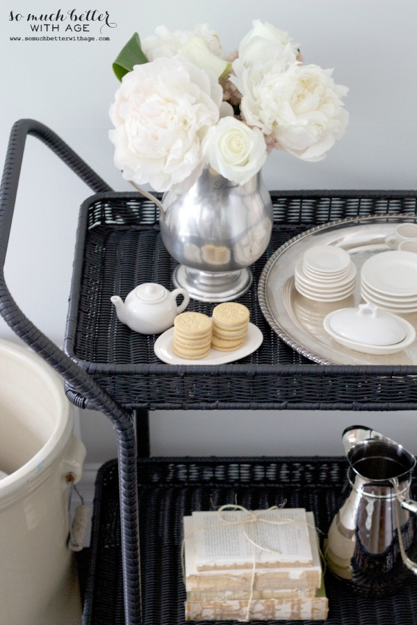 Wayfair / Serving cart styling via somuchbetterwithage.com
