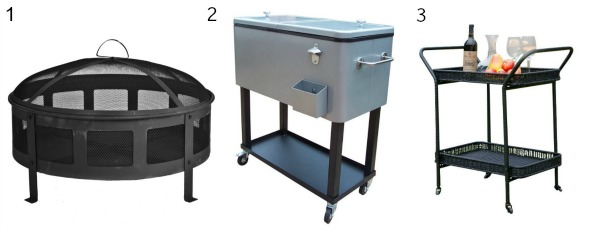 Deals on Wayfair items such as a fire pt, cooler and serving cart.