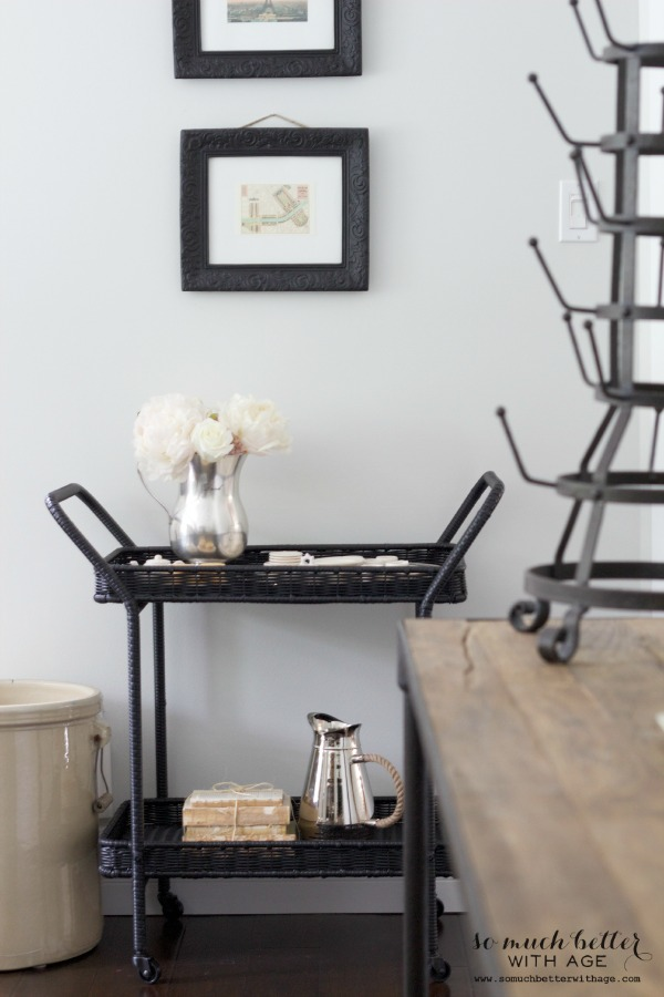 Serving cart styling via somuchbetterwithage.com