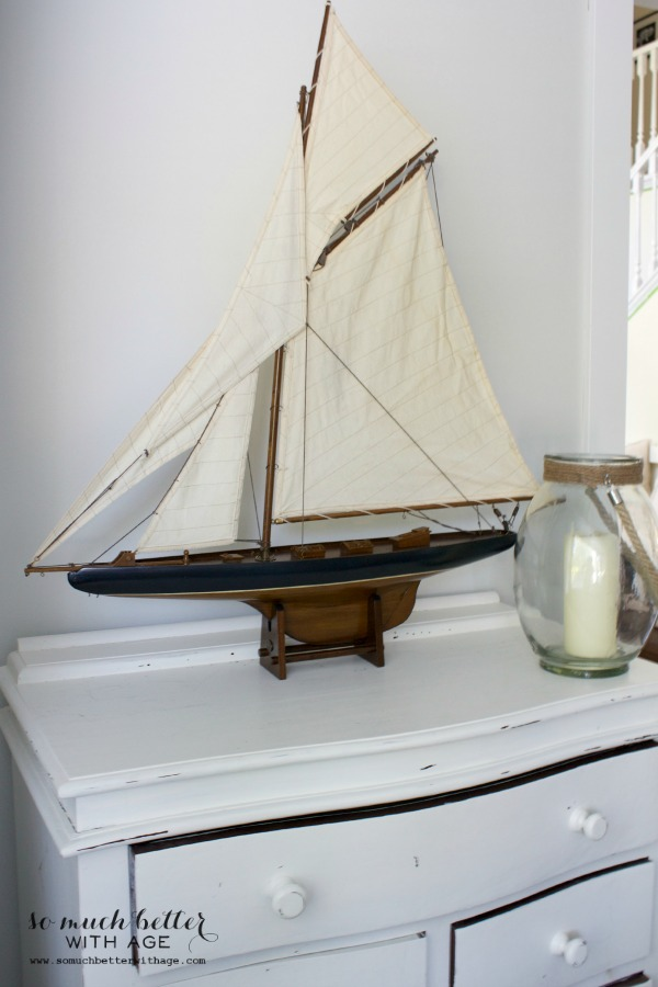 Close up picture of model sailboat.
