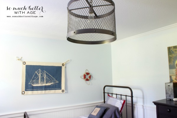 Metal light fixture from Restoration Hardware above the boys bed.