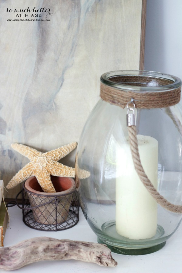 Glass lantern / Getting beachy with Kirkland's via somuchbetterwithage.com