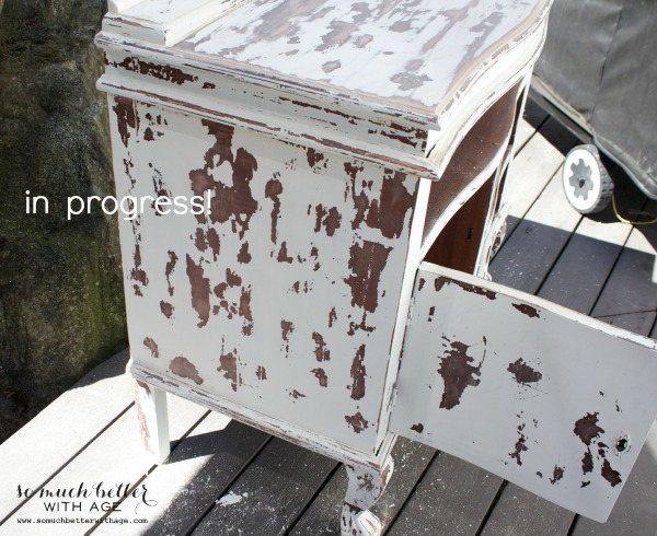 10 heavily distressed chippy furniture pieces / furniture in progress - So Much Better With Age
