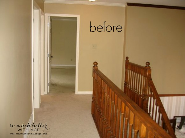 Neutral foyer before and after / before picture of staircase - So Much Better With Age