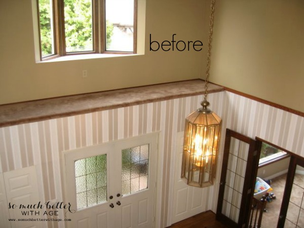 Neutral foyer before and after / before picture of outdated lighting - So Much Better With Age