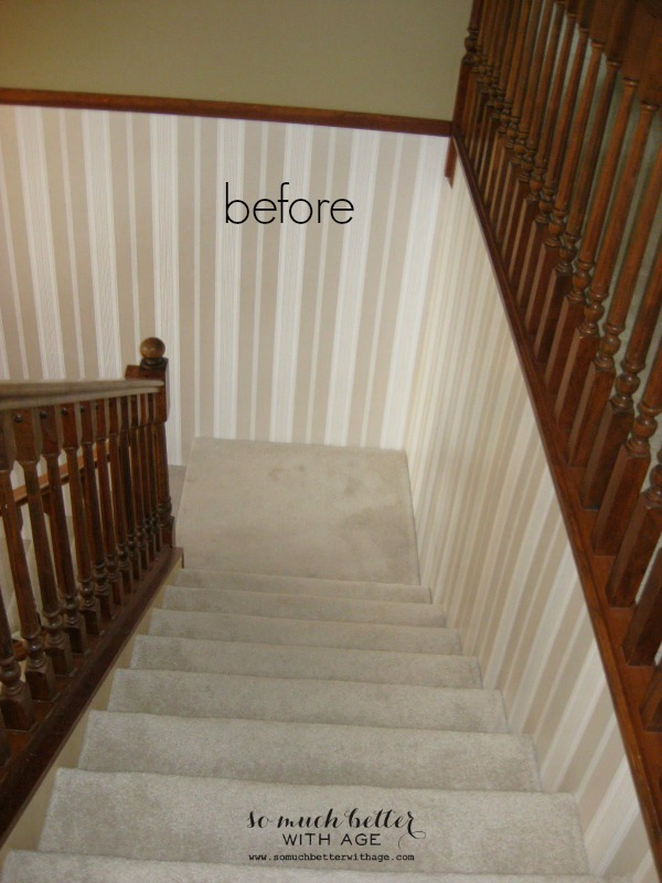 Neutral foyer before and after / picture of descending staircase - So Much Better With Age