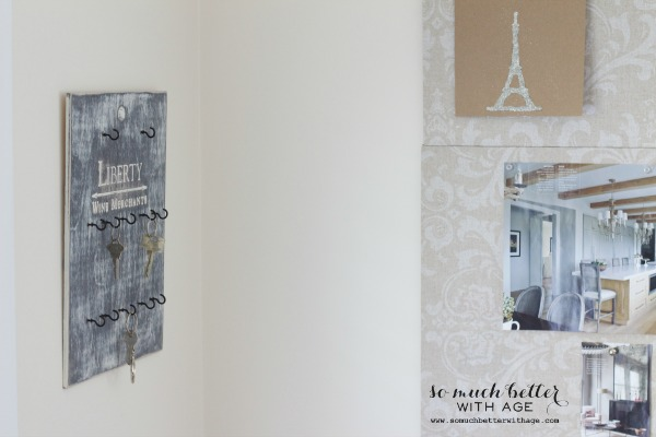 French / Distressed key holder from wine crate via somuchbetterwithage.com