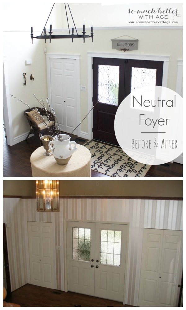 Neutral Foyer before and after by somuchbetterwithage.com