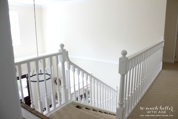 Neutral foyer before and after - beautiful staircase - So Much Better With Age