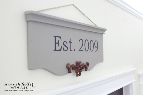 Est. 2009 sign hanging on wall.