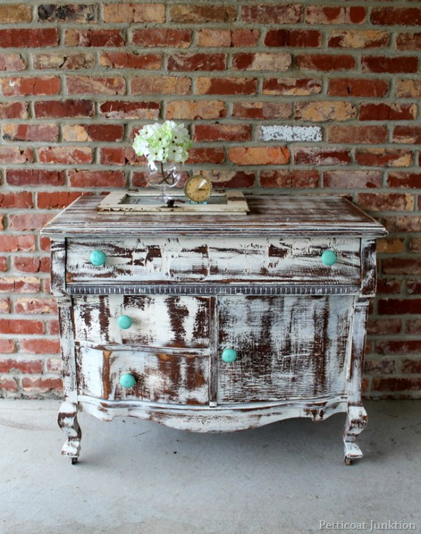 10 heavily distressed chippy furniture pieces / Petticoat Junktion - So Much Better With Age