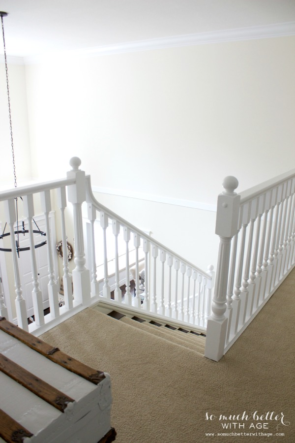 Neutral foyer before and after / painted staircase - So Much Better With Age