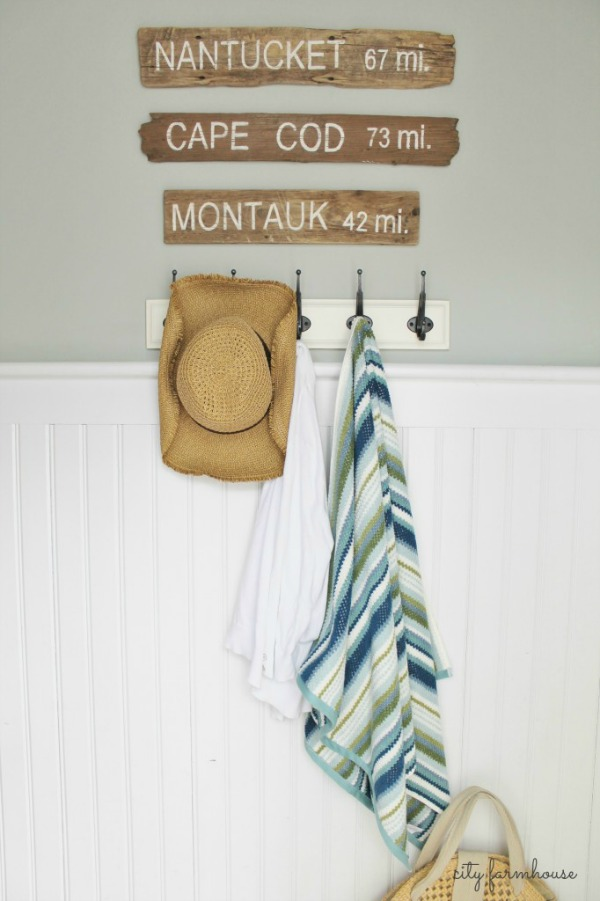Beachy Decor Ideas / hooks on wall - So Much Better With Age