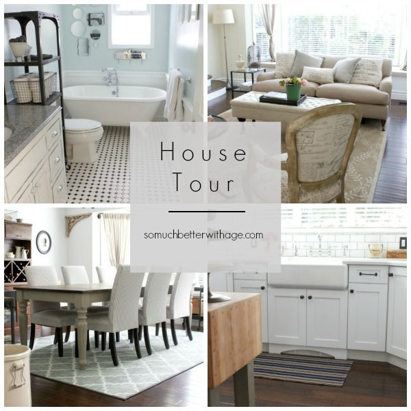 Four pictures of a bathroom, living room, dining room and a kitchen all in neutral tones.